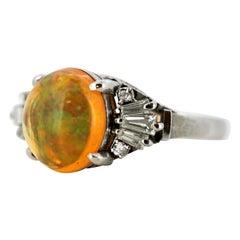 Ladies Platinum Ethiopian Opal '3.14 Carat' Ring with Diamonds