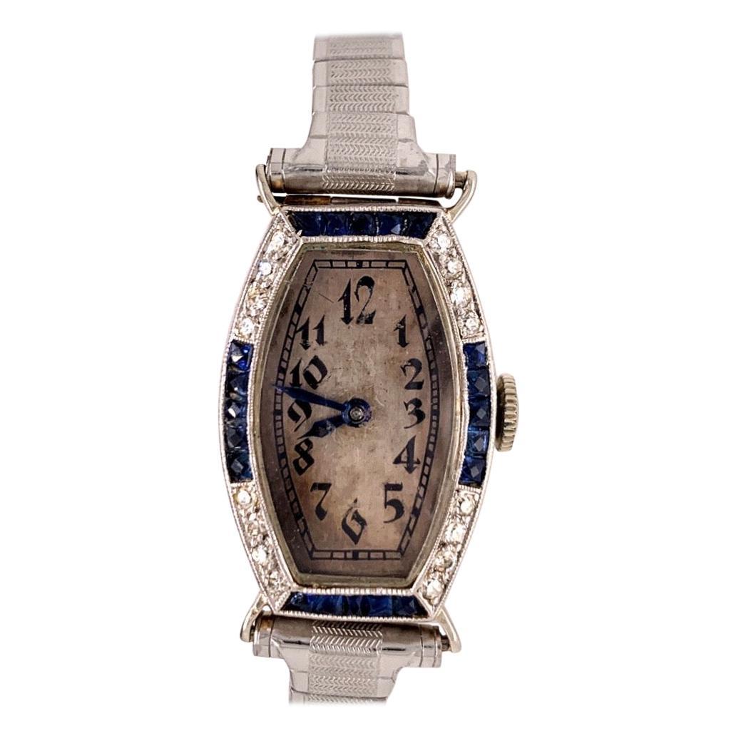 Ladies Platinum & Gold Longines Natural Diamond & Sapphire Manual Cocktail Watch