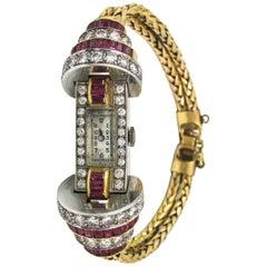 Ladies Platinum Yellow Gold Diamond Ruby Retro Wristwatch