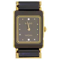 Ladies RADO DiaStar Gold-Plated Black Ceramic Swiss Quartz Watch 153.0283.3N