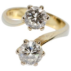 Ladies Ring Set with Two Large Diamond Solitaires, 18 Karat Gold