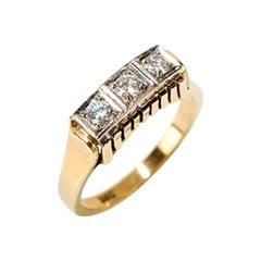 Ladies Ring with 3 Diamonds, 14 Carat Gold, 1930s