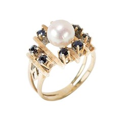 Ladies Ring with Pearl and 8 Sapphires, 14 Carat Gold, 1930s