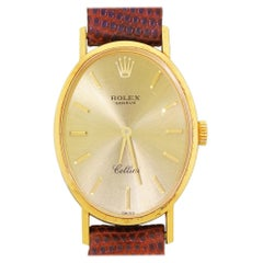 Ladies Rolex Cellini Ref 4110 18 Karat Yellow Gold Manual Wind Oval Watch, 1976