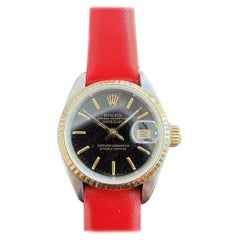 Ladies Rolex Oyster Datejust 18k Gold & SS Automatic 1980s Box MA202RED