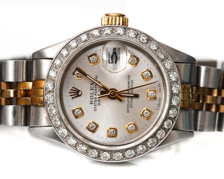 Round Cut Ladies Rolex with 2.5 Carat Diamond Custom Dial and Bezel