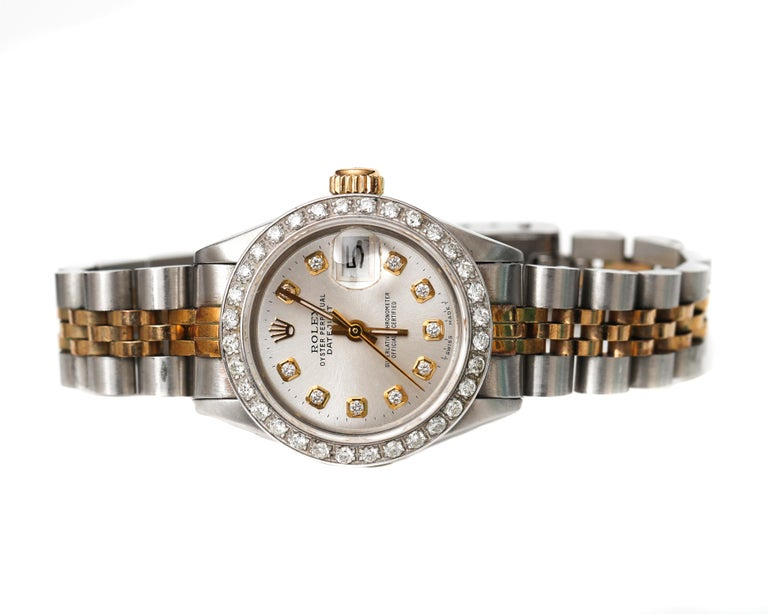 Ladies Rolex with 2.5 Carat Diamond Custom Dial and Bezel In Excellent Condition In New York, NY