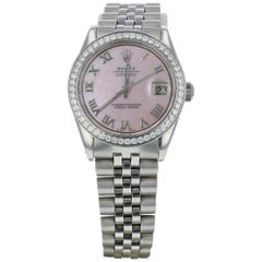 Ladies Rolex with Pink Mother of Pearl Dial and Diamond Bezel
