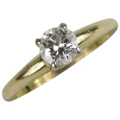 Ladies Solitaire Yellow Gold Diamond Engagement Ring