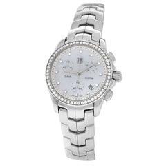 Ladies Tag Heuer Link CJF1314 Steel MOP Diamond Date 200M Quartz 33MM Watch