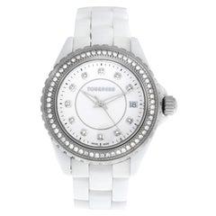 Ladies Tourneau 53411-2 Steel Ceramic Diamond Quartz Watch