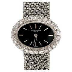 Ladies Vacheron Constantin White Gold Diamond Bezel Oval Black Dial Watch