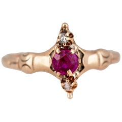 Ladies Victorian Natural Ruby and Diamond Ring