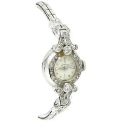 Ladies Vintage 14 Karat White Gold 1.00 Carat Diamond Hamilton Fashion Watch