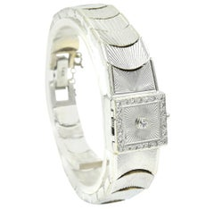 Ladies Vintage 14 Karat White Gold Hamilton Flip Top Diamond Dress Watch