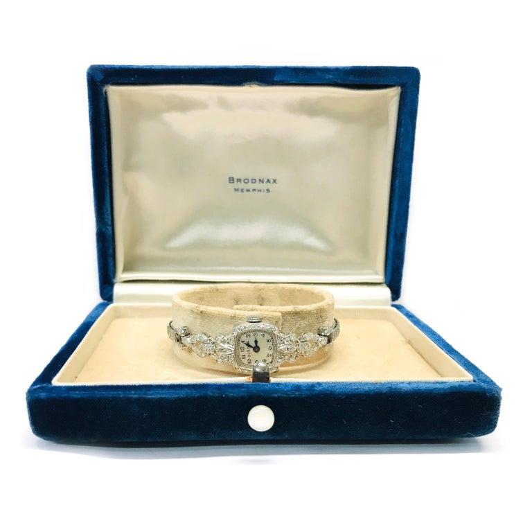 Ladies Vintage Bulova Platinum Diamond Watch, circa 1930s For Sale 4