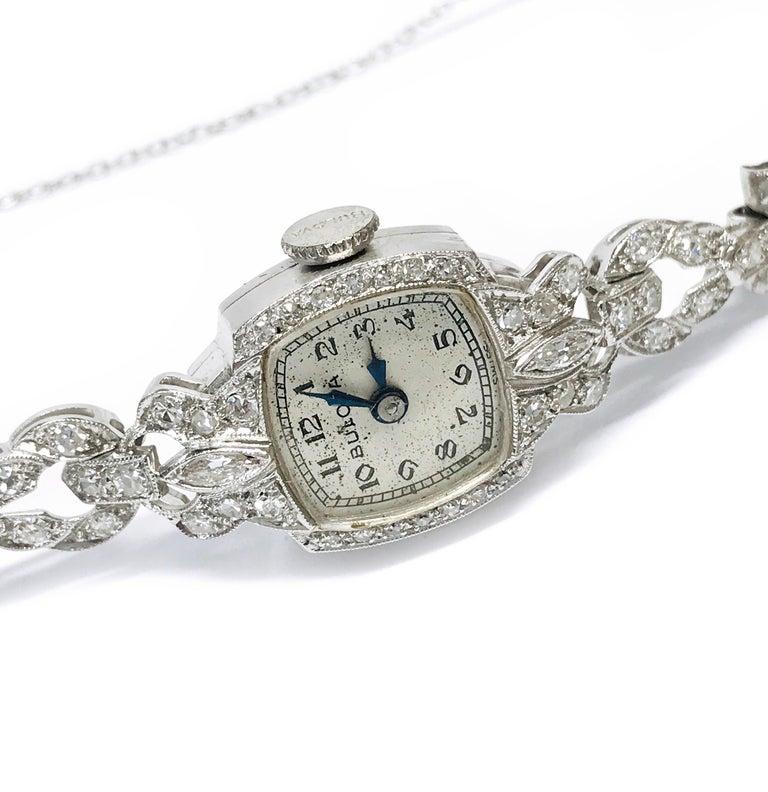 Art Deco Ladies Vintage Bulova Platinum Diamond Watch, circa 1930s For Sale