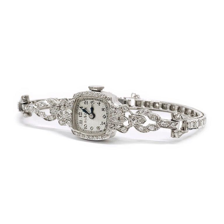 Round Cut Ladies Vintage Bulova Platinum Diamond Watch, circa 1930s For Sale