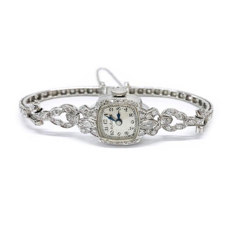 Ladies Vintage Bulova Platinum Diamond Watch, circa 1930s In Good Condition For Sale In Palm Desert, CA