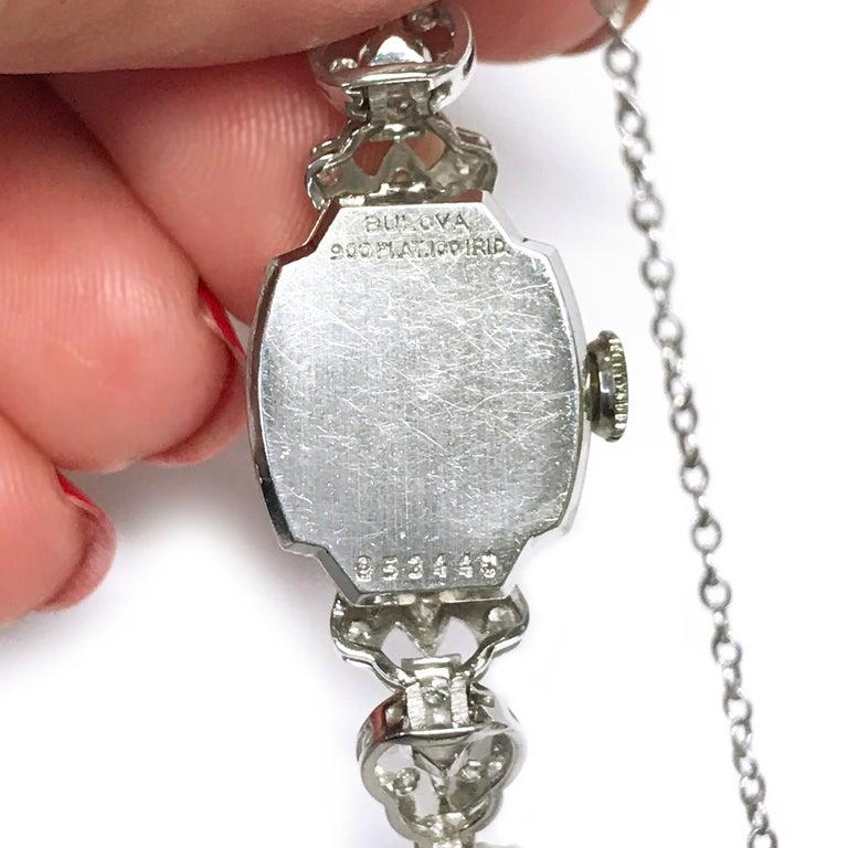 Ladies Vintage Bulova Platinum Diamond Watch, circa 1930s For Sale 2