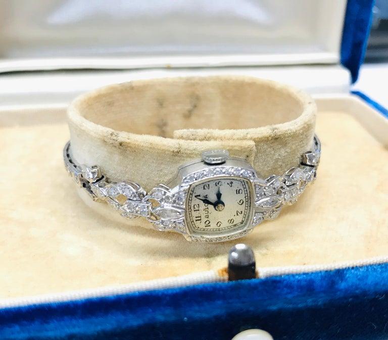 Ladies Vintage Bulova Platinum Diamond Watch, circa 1930s For Sale 3