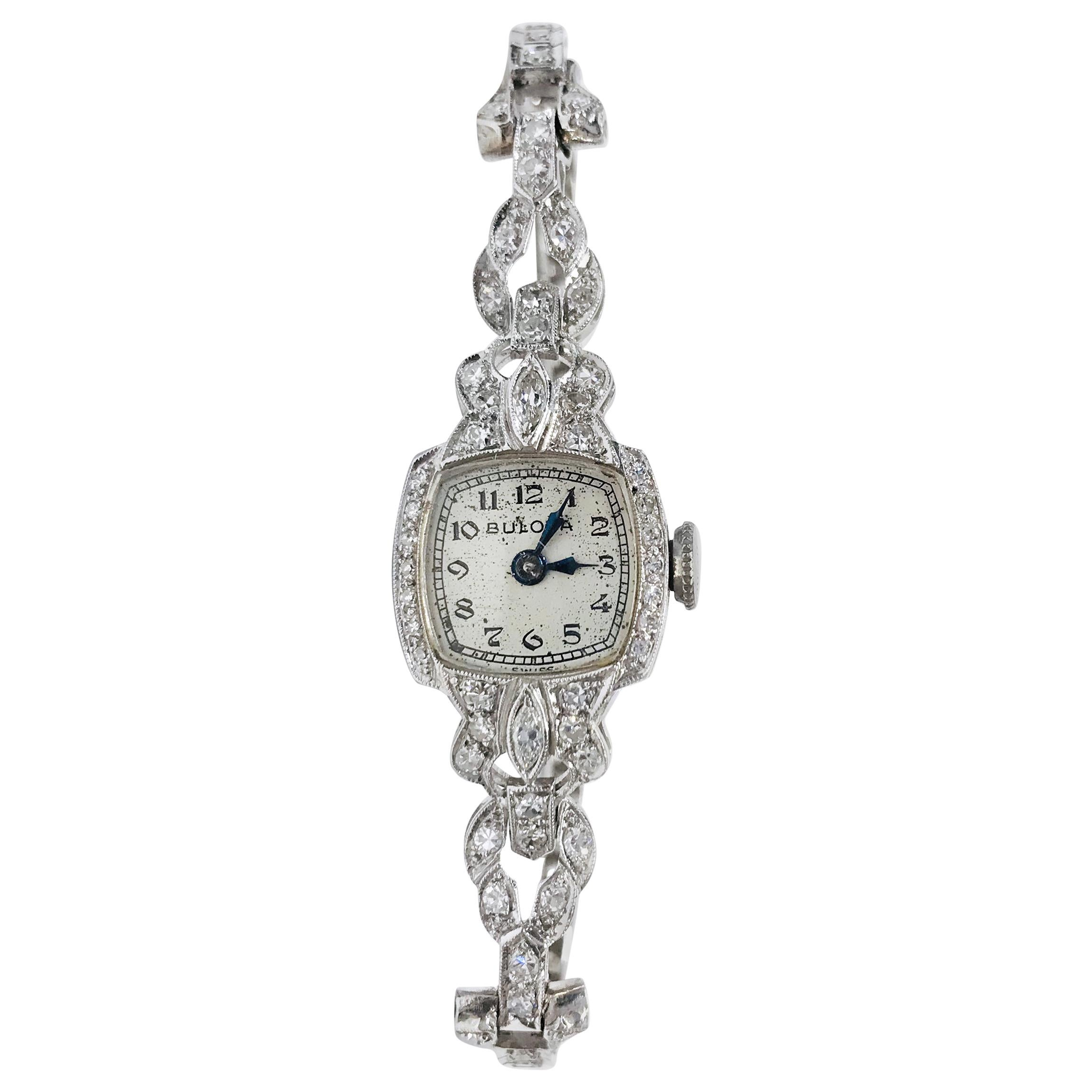 Ladies Vintage Bulova Platinum Diamond Watch, circa 1930s