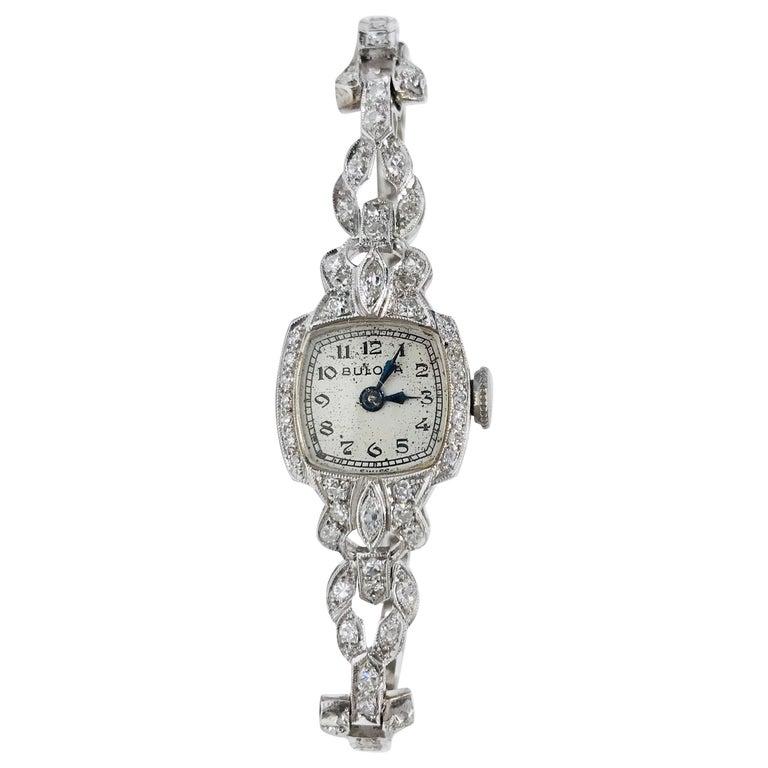 Ladies Vintage Bulova Platinum Diamond Watch, circa 1930s For Sale