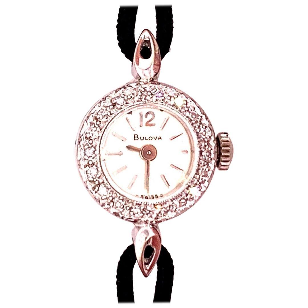 Ladies Vintage Bulova White Gold .25 Carat Natural Diamond Manual Cocktail Watch