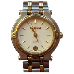 Ladies Vintage Gucci 9000L Watch Stainless Steel with Gold Plating, Quartz