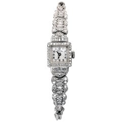 Ladies Vintage Hamilton Platinum Diamond Watch, circa 1930s