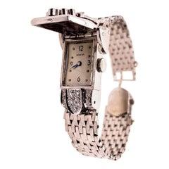 Ladies Vintage Platinum Geneva .60 Carat Natural Diamonds Cocktail Pop-Up Watch