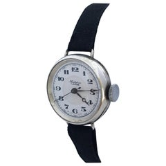 Ladies Vintage Silver Mappin Mechanical Trench Watch