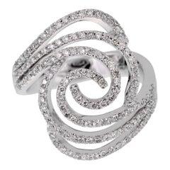 Ladies White Gold Diamond Swirl Cocktail Ring