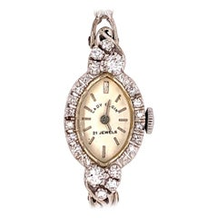 Ladies White Gold Elgin 1 Carat Natural Colorless Diamond Manual Cocktail Watch