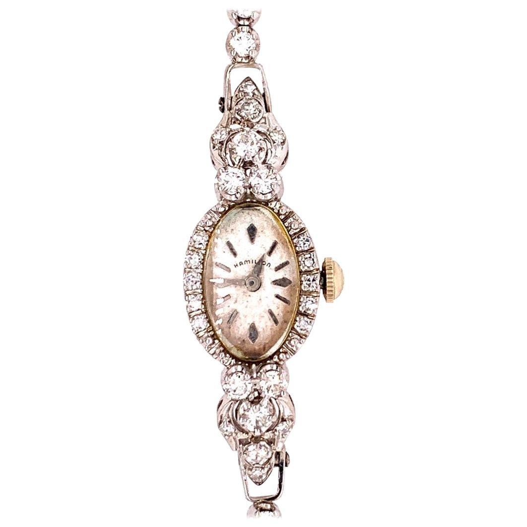 Ladies White Gold Hamilton 2 Carat Natural F Color Diamond Manual Cocktail Watch