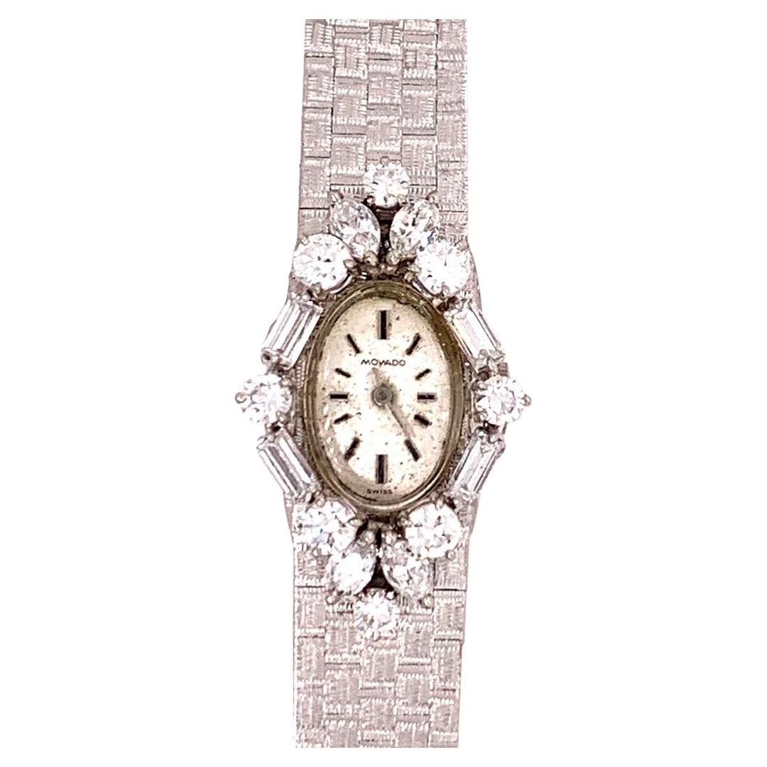 Ladies White Gold Movado 2 Carat Natural Colorless Diamond Manual Cocktail Watch