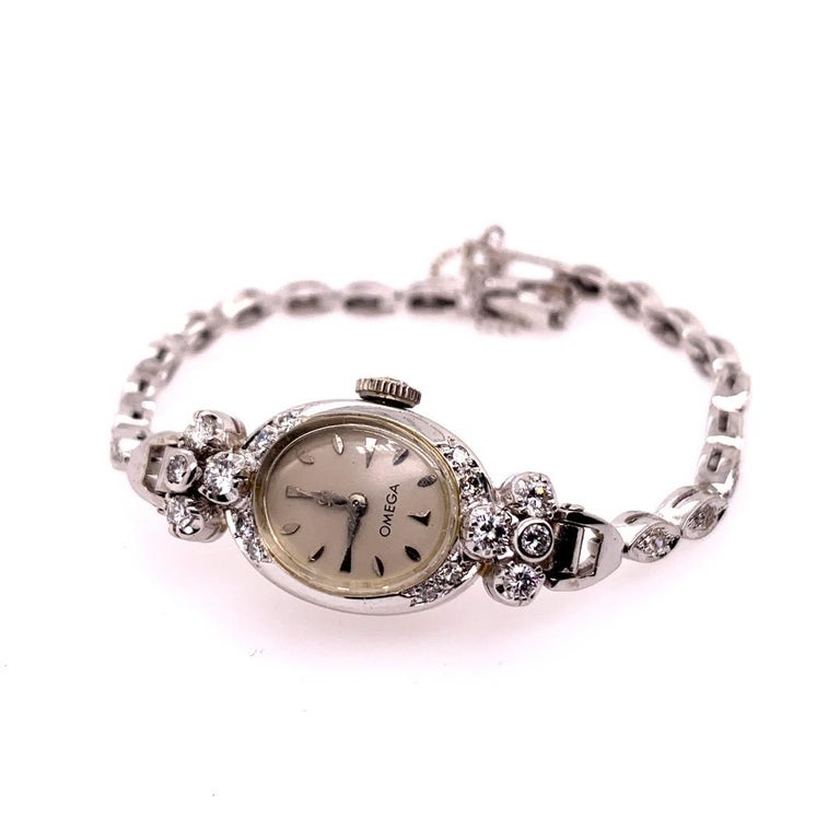 Women's Ladies White Gold Omega 1.25 Carat Natural Diamond Manual Cocktail Vintage Watch For Sale