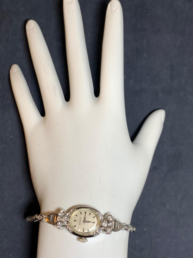Ladies White Gold Omega 1.25 Carat Natural Diamond Manual Cocktail Vintage Watch For Sale 1
