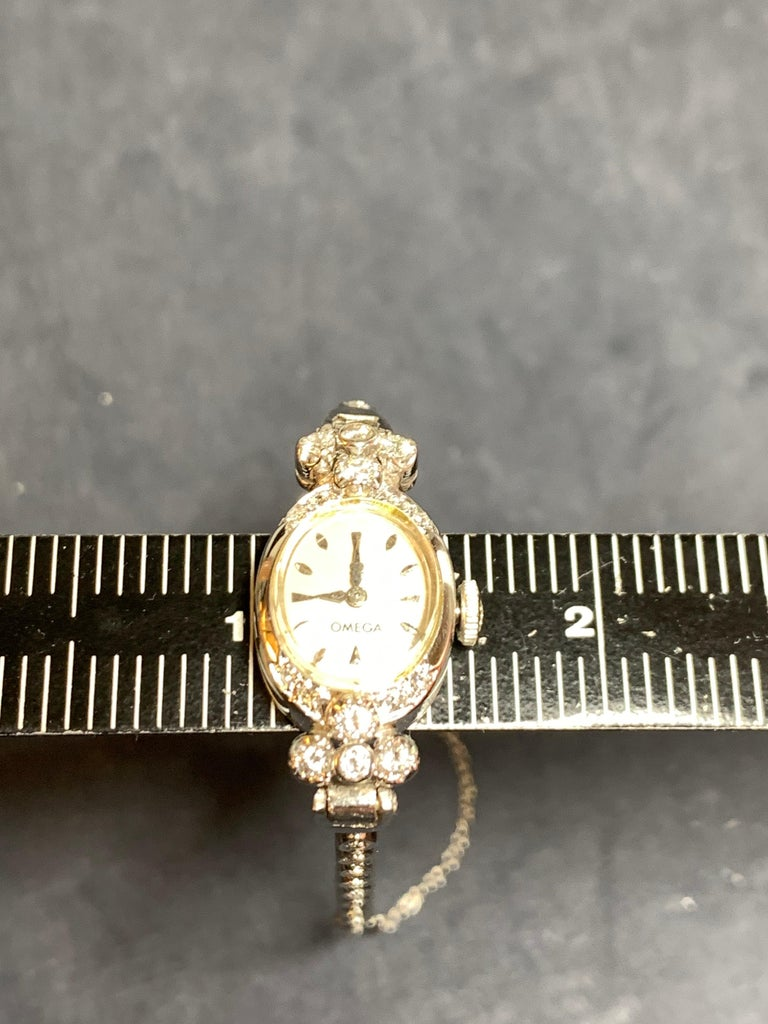 Ladies White Gold Omega 1.25 Carat Natural Diamond Manual Cocktail Vintage Watch For Sale 2