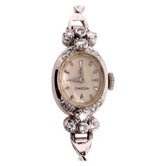 Ladies White Gold Omega 1.25 Carat Natural Diamond Manual Cocktail Vintage Watch