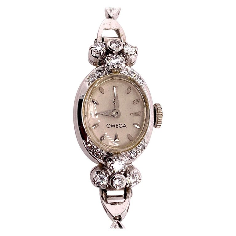 Ladies White Gold Omega 1.25 Carat Natural Diamond Manual Cocktail Vintage Watch For Sale
