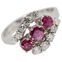 Ladies White Gold Ring with Rubies and Diamonds