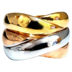 Ladies Wide Gold Braid Flat Link Band 14 Karat Tri-Color