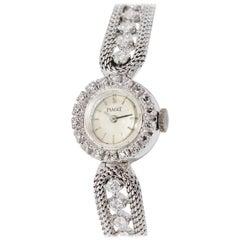 Ladies Wristwatch by Piaget, 18 Karat White Gold with Diamonds