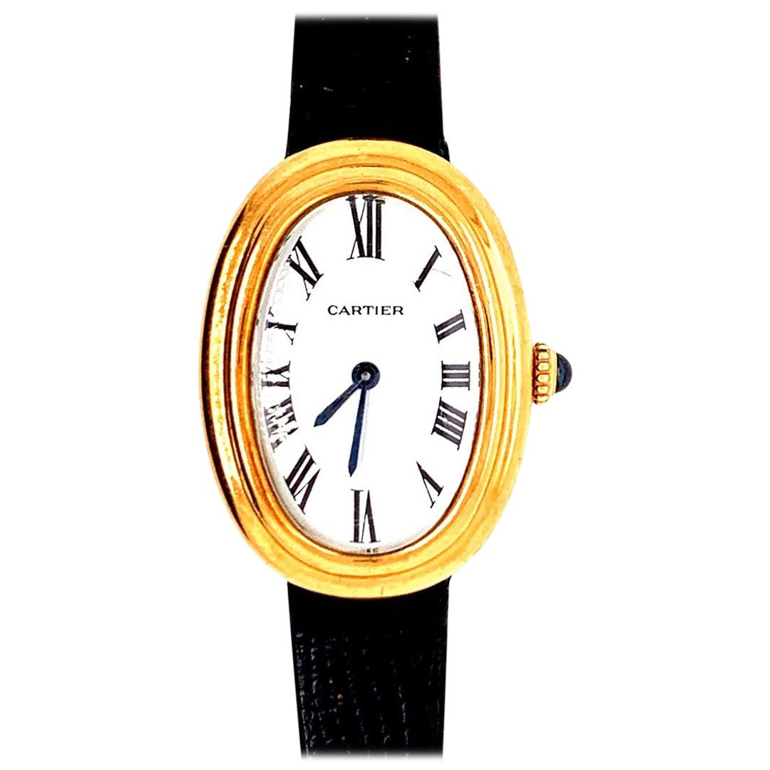 Ladies Yellow Gold Cartier White Baignoire Paris Mechanical Watch Box and Buckle