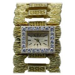 Ladies Yellow Gold Diamond Link Wristwatch