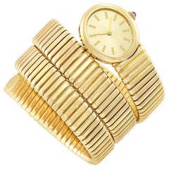 Ladies Yellow Gold Synthetic Sapphire Crown Coil mechanical Bracelet Wristwatch