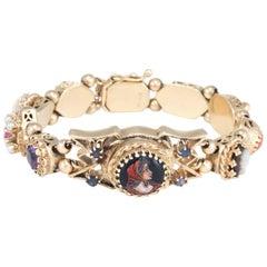 Ladies Yellow Gold Vintage Jewel Slide Bracelet Mechanical Wristwatch