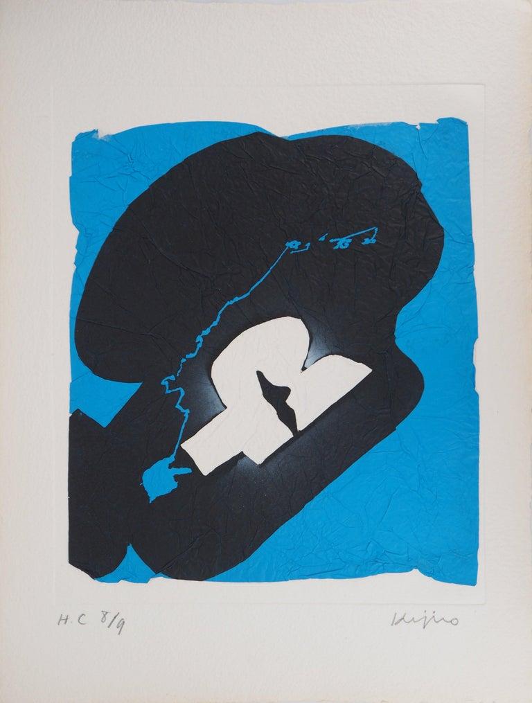Ladislas Kijno Abstract Print - Elapsed Time in Blue - Original Mix Media - Handsigned
