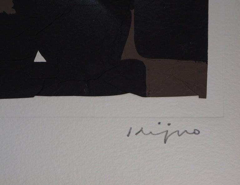 Elapsed Time in Brown - Original Mix Media - Handsigned - Print by Ladislas Kijno